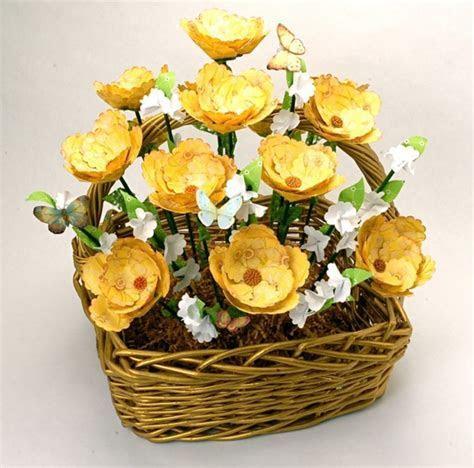 Rustic Paper Flower Basket   AllFreeDIYWeddings.com