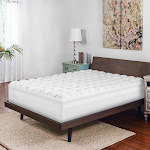Biopedic 4 inch Gel-Infused Memory Foam and Synthetic Down Baffle Box Full Mattress Topper, White