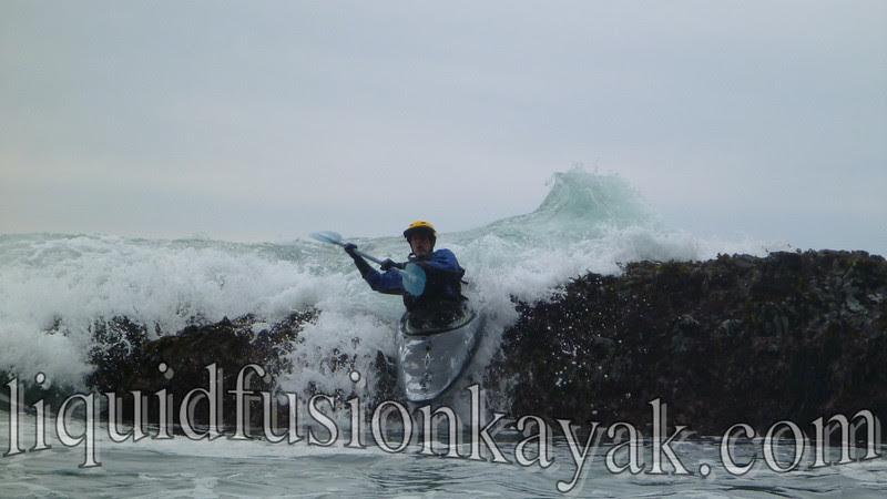 Whitewater kayaking in ocean rock gardens