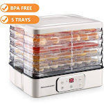 Homeleader Electric Digital Food Dehydrator Machine with Timer and Temperature Control, Five Trays, LCD Display Screen
