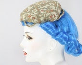 GORGEOUS Rockabilly Pinup Floral Needlepoint Brocaded Hat
