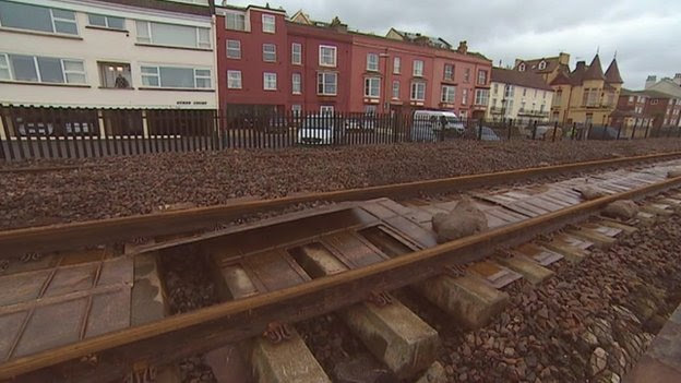 Damaged rail line at Dawlish