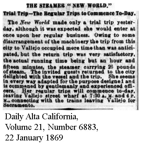 Steamer New World Test Trip - Daily Alta California, Volume 21, Number 6883, 22 January 1869.