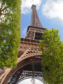 Photo of Paris Skip the Line: Eiffel Tower Tickets and Small-Group Tour Looking up at the Eiffel Tower