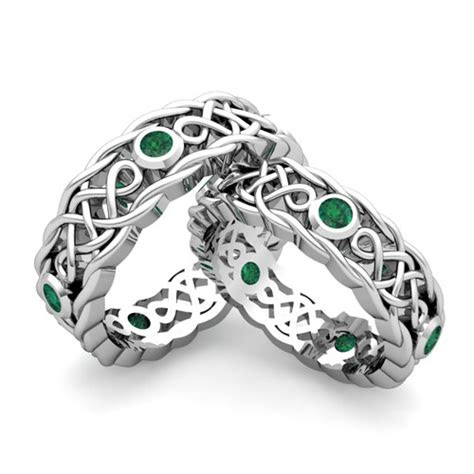 love   wedding band  gold emerald celtic