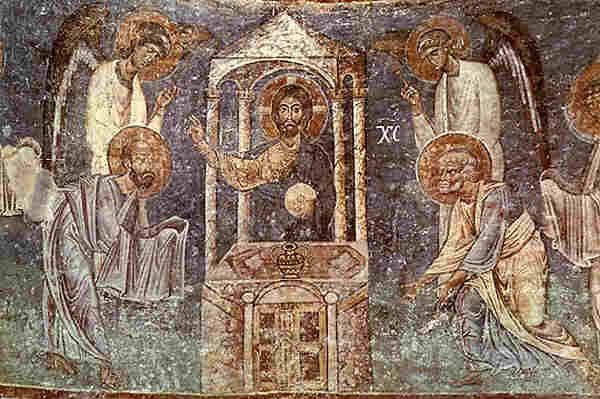 """Причастието на апостолите. Детайл от стенопис от 1037-1056 г. от Охридската църква """"Св. София"""" (Agia Sophia in Ochrid, Macedonia). Източник: macedonian-heritage.gr"""