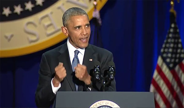 President Obama delivers his farewell speech in Chicago on Jan. 10, 2017 (Photo: Screenshot)