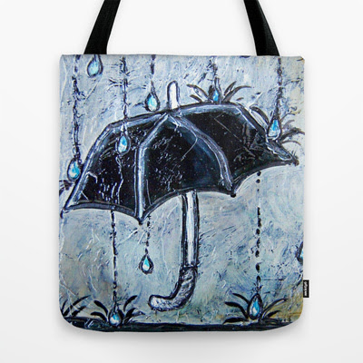 Rainy Day Umbrella Tote Bag by Artistic Environments | Society6