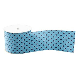 Navy Polka Dots on Light Blue Grosgrain Ribbon