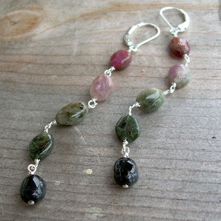 dangly tourmaline earrings