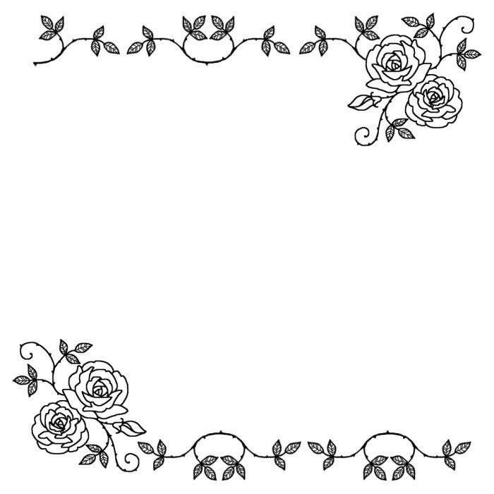 バラの花1枠ふきだし無料イラストみさきのイラスト素材