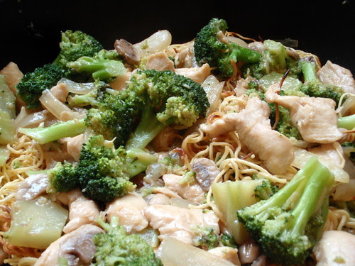 Pan-fried Noodles with Chicken and Broccoli