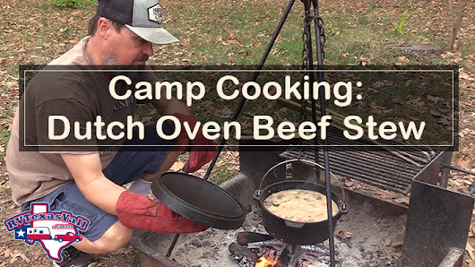 Dutch Oven Beef Stew Cooked Over a Campfire