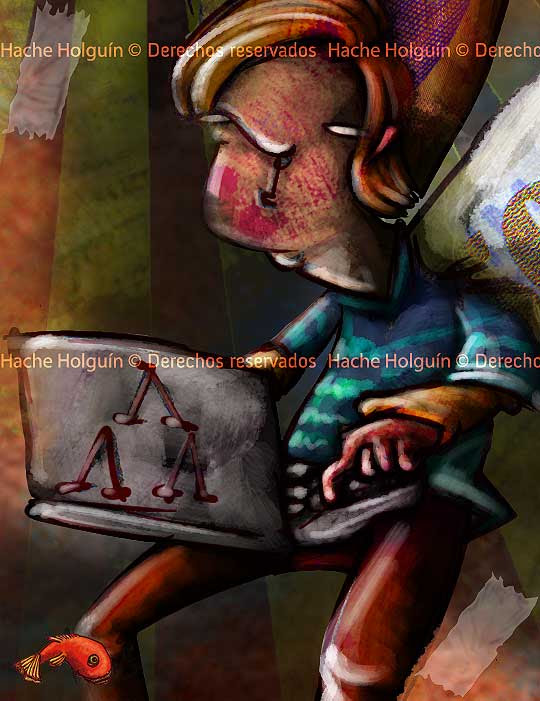 Ilustración sobre deserción universitaria por Hache Holguín, detalle