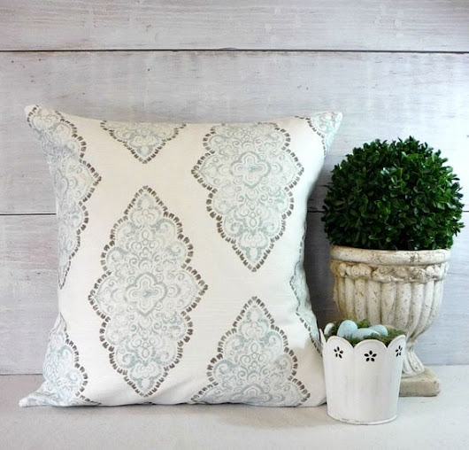 Soft Blue Diamond Damask  Blue and White Pillow by greenwillowpond