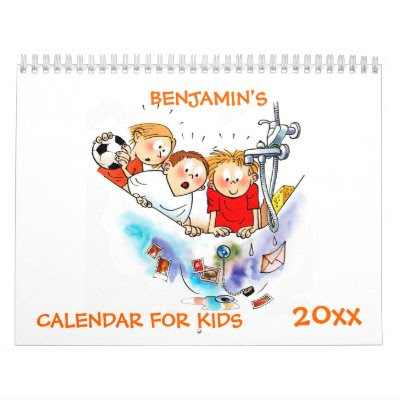 Orange Funny Kids Cartoons Calendar