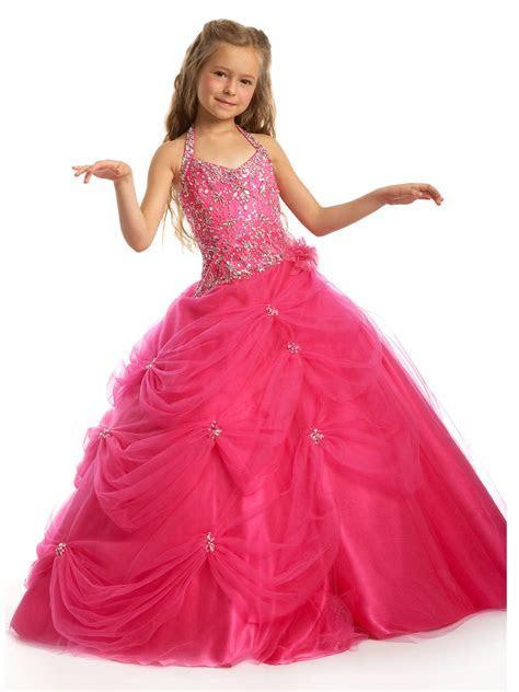 hot pink brides maid dresses for girls   Hot Pink Little