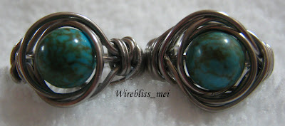 Top view of Twice around the world (TAW) wire wrap ring