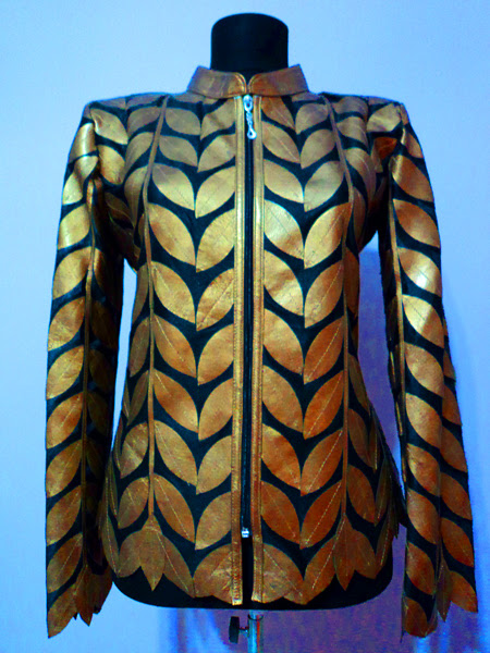 Plus Size Gold Leather Leaf Jacket for Women [ Design 04 ] Genuine Short Zip Up Light Lightweight