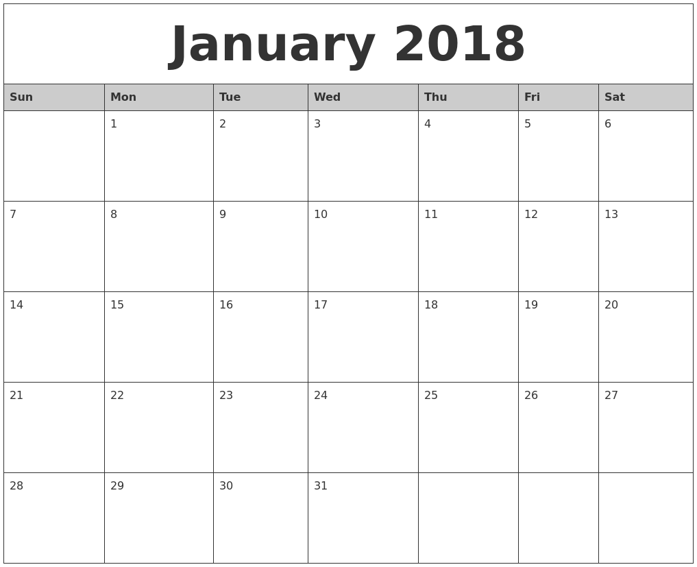 january 2018 monthly calendar printable