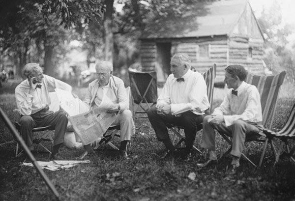 Henry Ford, Thomas Edison, Warren G. Harding, and Harvey Firestone, 1921