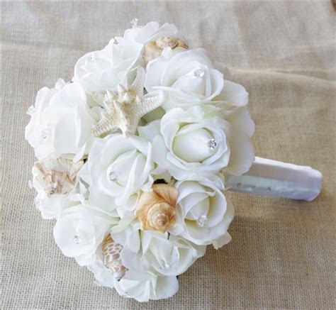 Seashells & Natural Touch Off White Roses Beach Wedding