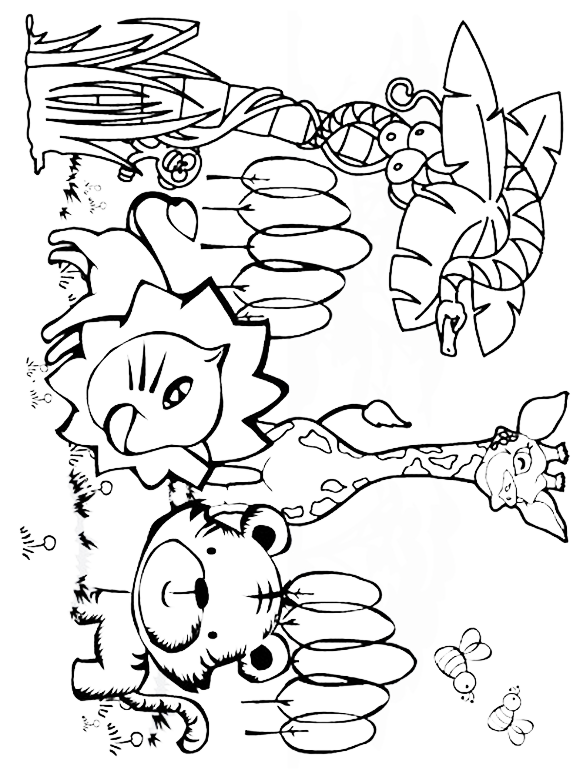 Jungle Animals Coloring Pages Preschool at GetColorings ...