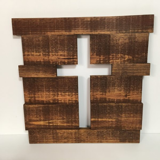 Cross CutOut Plaque (English Chestnut Stain)
