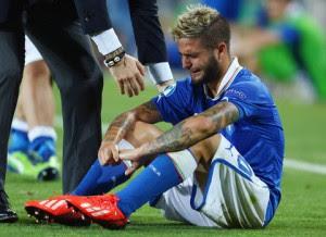 Insigne in lacrime dopo la sconfitta nella finale dell'Europeo Under 21 nel 2013