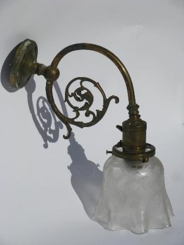 antique brass wall sconce early electric socket w/1890s ...