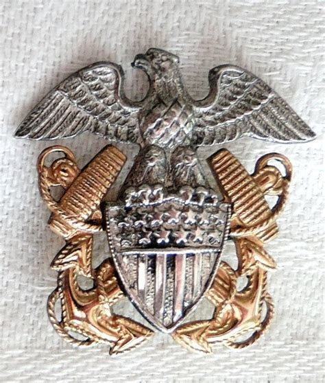 WWII US Navy Eagle Shield and Crossed Anchors Lapel Pin