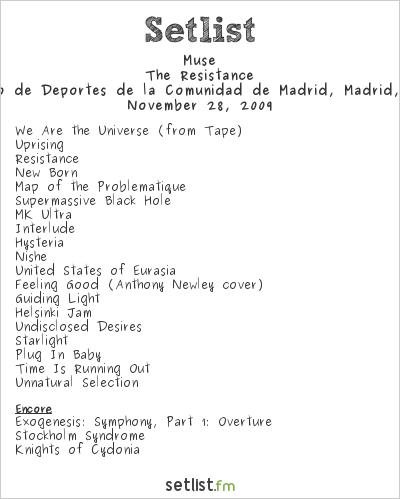 Muse Setlist Palacio de Deportes de la Comunidad de Madrid, Madrid, Spain 2009, Resistance Tour