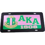 Alpha Kappa Alpha Domed Crest Mirror Car Tag License Plate [Black - Car/Truck]