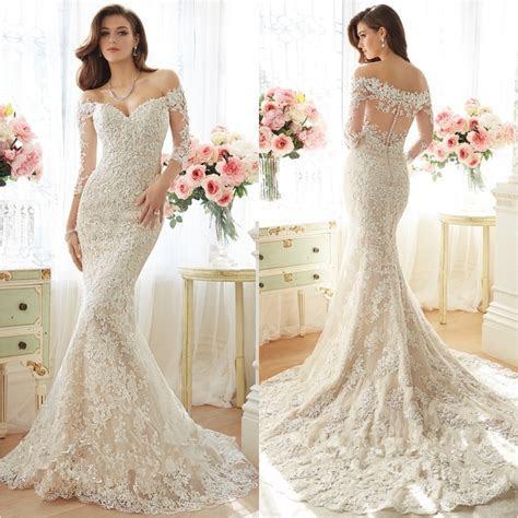 Elegant White Lace Wedding Dresses Off Shoulder Sweep