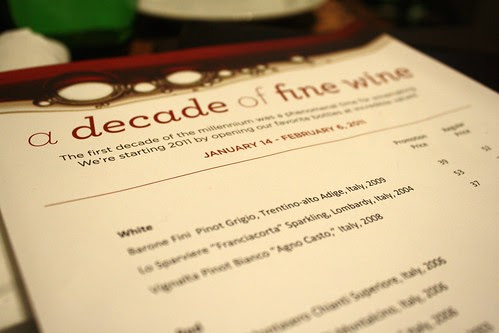 Decade of Fine Wine Menu