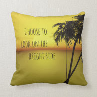 Beach Sunset Palm Tree with Quote Pillow