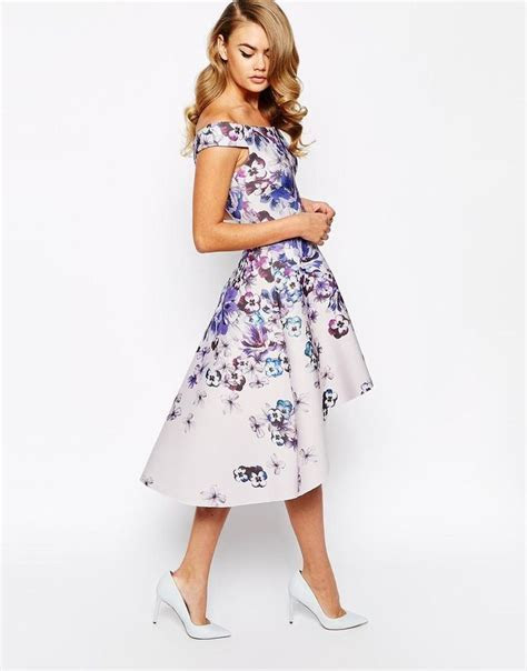 True Violet   True Violet Printed Off Shoulder Prom Dress