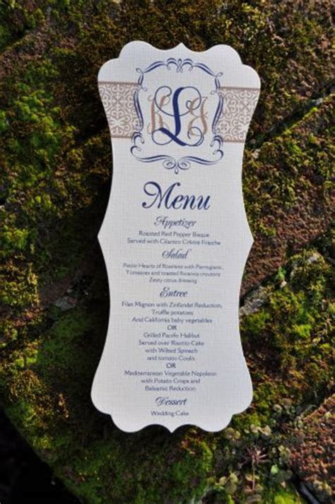 Kristin Die Cut Menu Cards   Wiregrass Weddings