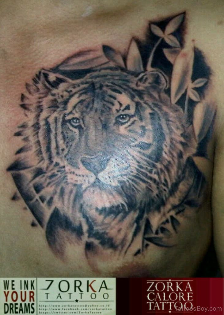 Flower And Tiger Tattoo On Chest Tattoo Designs Tattoo Pictures