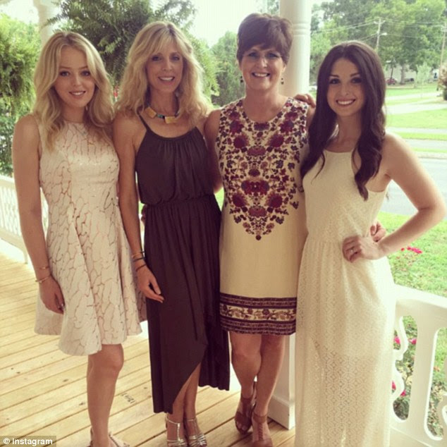 Family time: Marla Maples shared this photo of herself posed with her daughter Tiffany (left), her half-sister Danielle (right), and Danielle's mother Deena (second from left) on Saturday