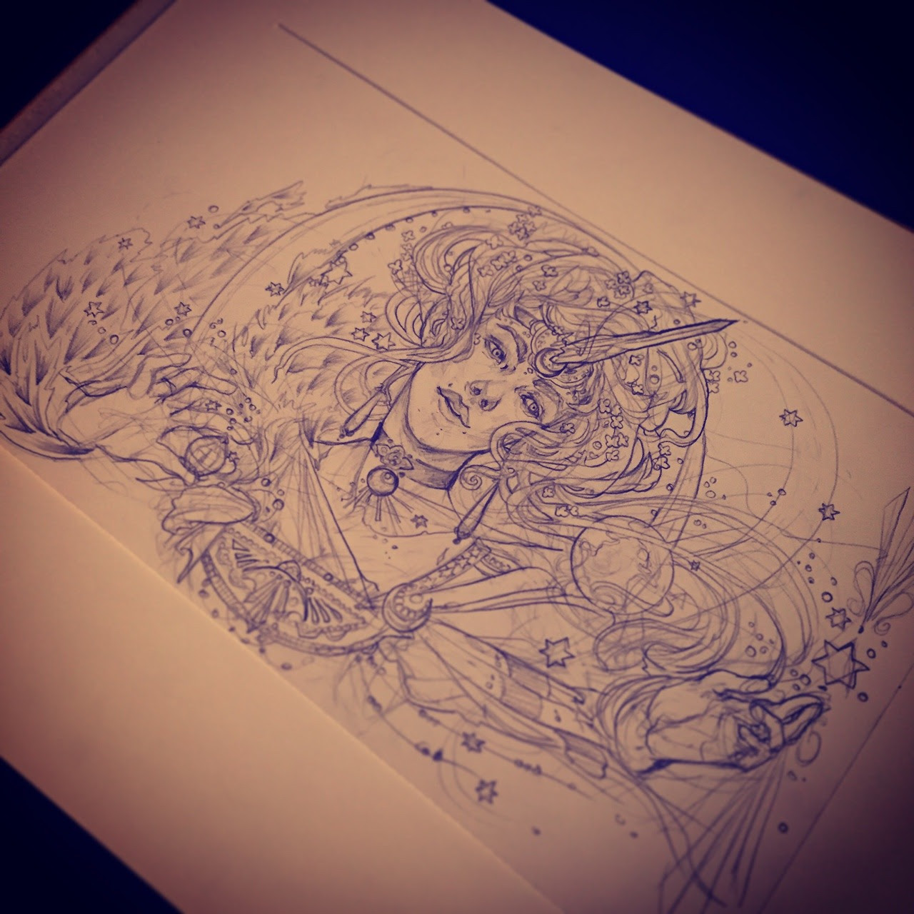 Inktober and drawlloween day 12 moon/ Gibson girl crystal moon