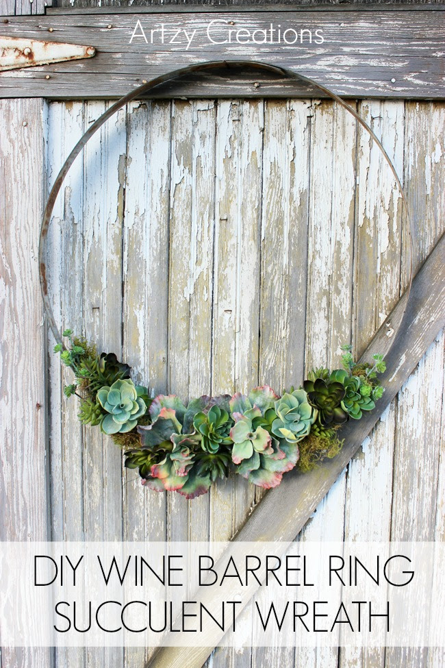 Wine Barrel Ring Succulent Wreath Tgif This Grandma Is Fun