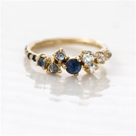 Ombre Cluster Ring // Rose Cut Blue Sapphires White