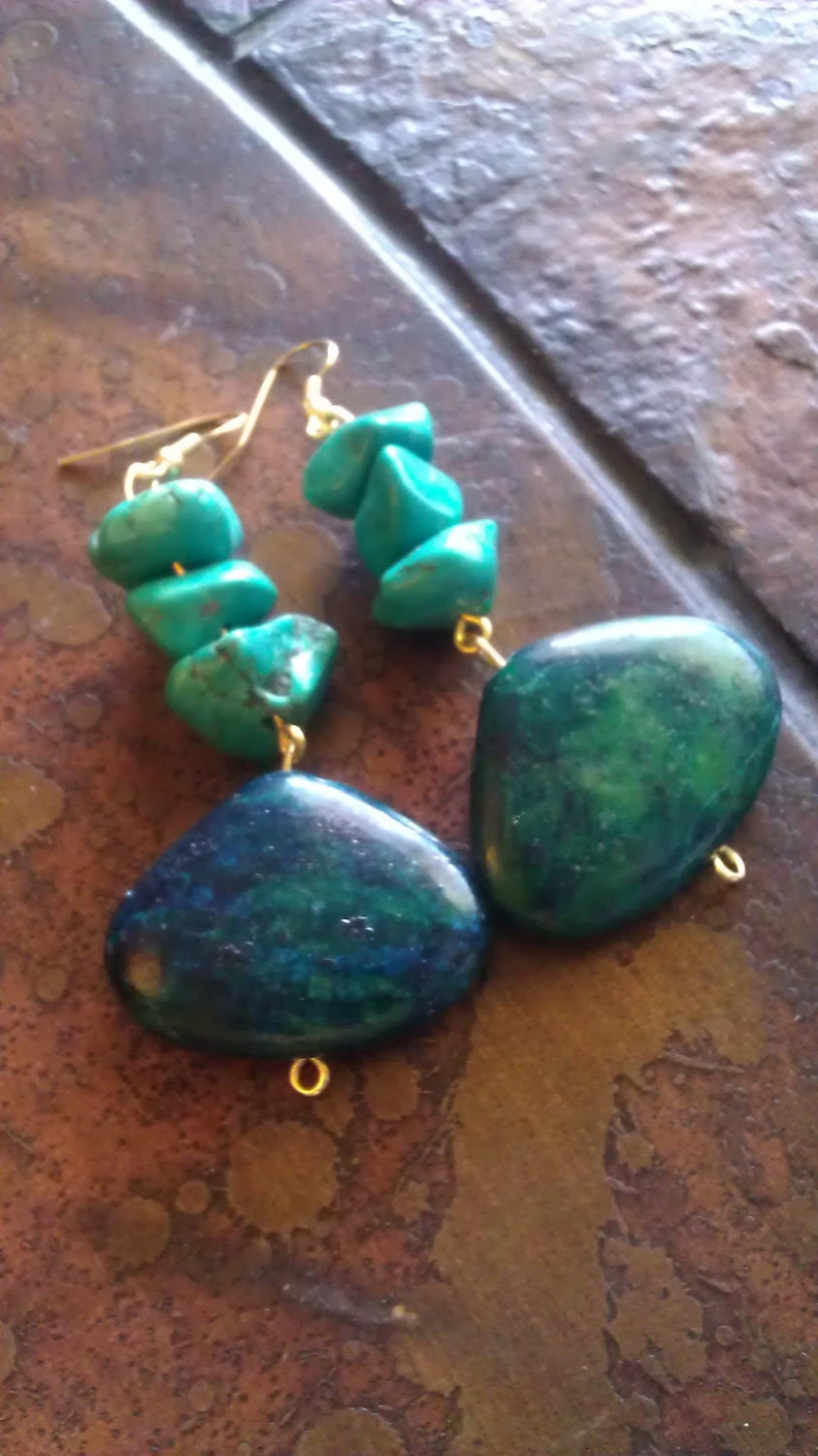 Envy Who Yellow Turquoise and Mexican Turquoise Beaded Dangle earrings