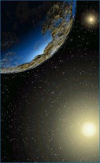 Ilustración de un planeta en el sistema Alpha Centauri