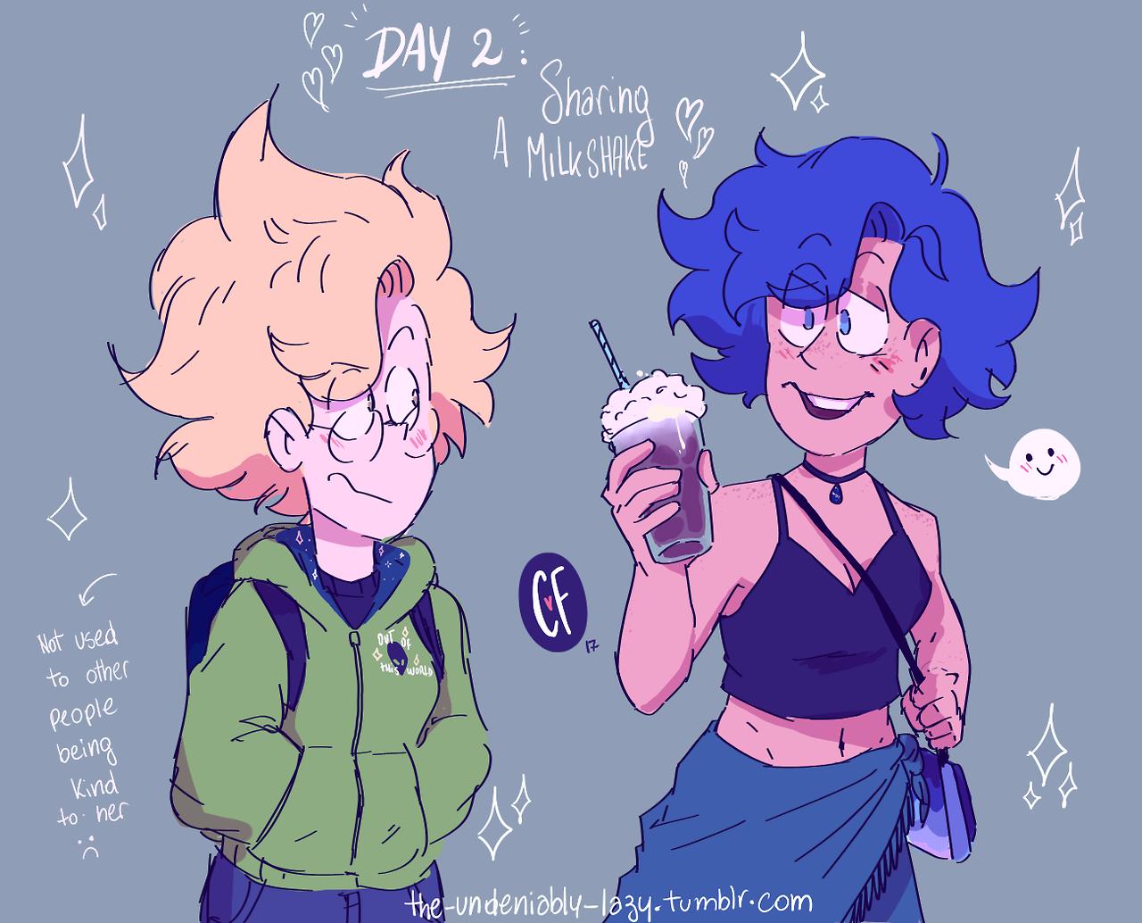 Day 2: Sharing a milkshake ✨✨✨💖
