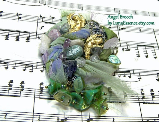 Assemblage Angel Brooch by LunaEssence on Etsy