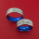 Cobalt Chrome and Meteorite Matching Wedding Band Set