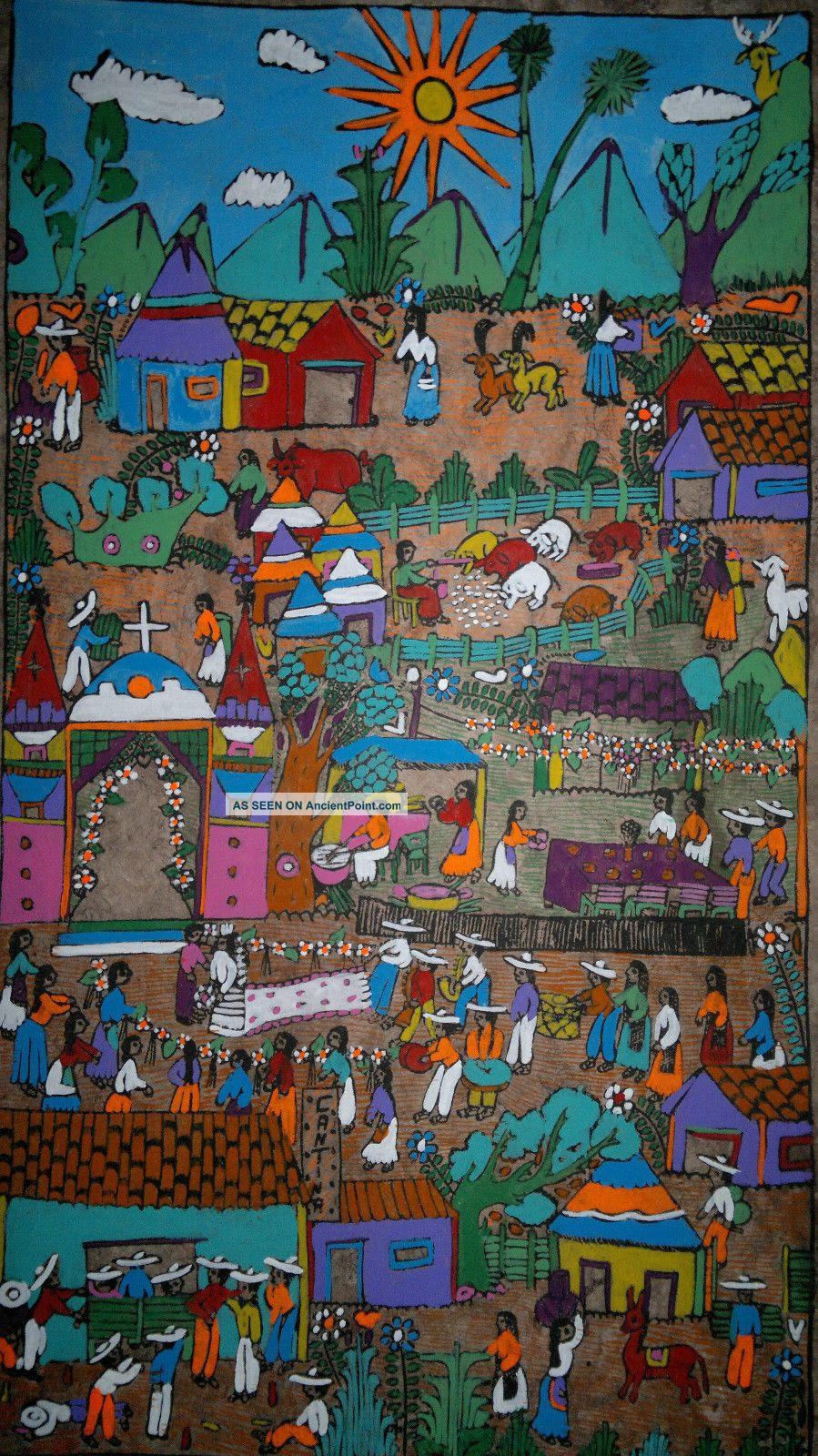 Mexican Amate Bark Painting Latin Native Ethnic Folk Art Wall Hanging Home Decor