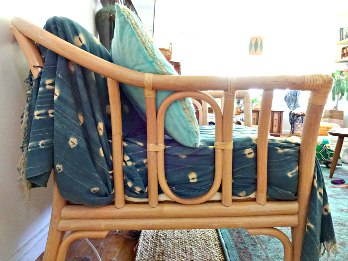 faux upholstery using a rattan chair and indigo mud cloth